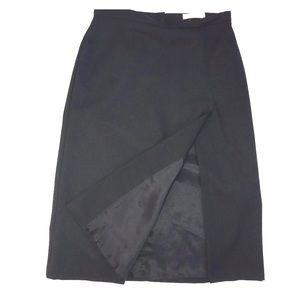 Hugo Buscati a-line skirt high slit sz4 black wool